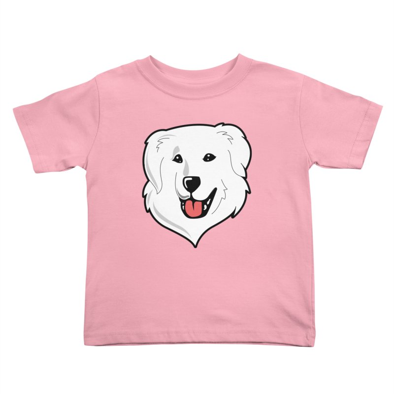 Happy Pyr on color backgrounds Kids Toddler T-Shirt by Carolina Great Pyrenees Rescue's Shop