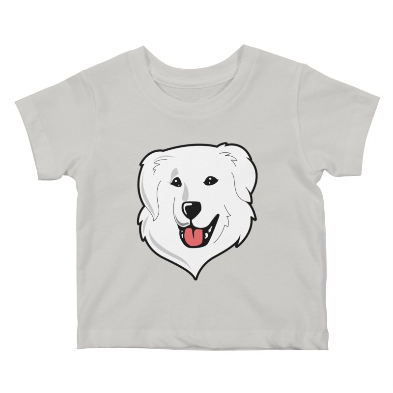 Happy Pyr on color backgrounds Kids Baby T-Shirt by Carolina Great Pyrenees Rescue's Shop