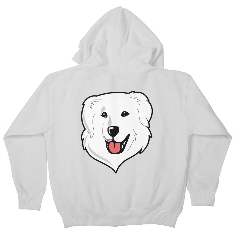 Happy Pyr on color backgrounds Kids Zip-Up Hoody by Carolina Great Pyrenees Rescue's Shop