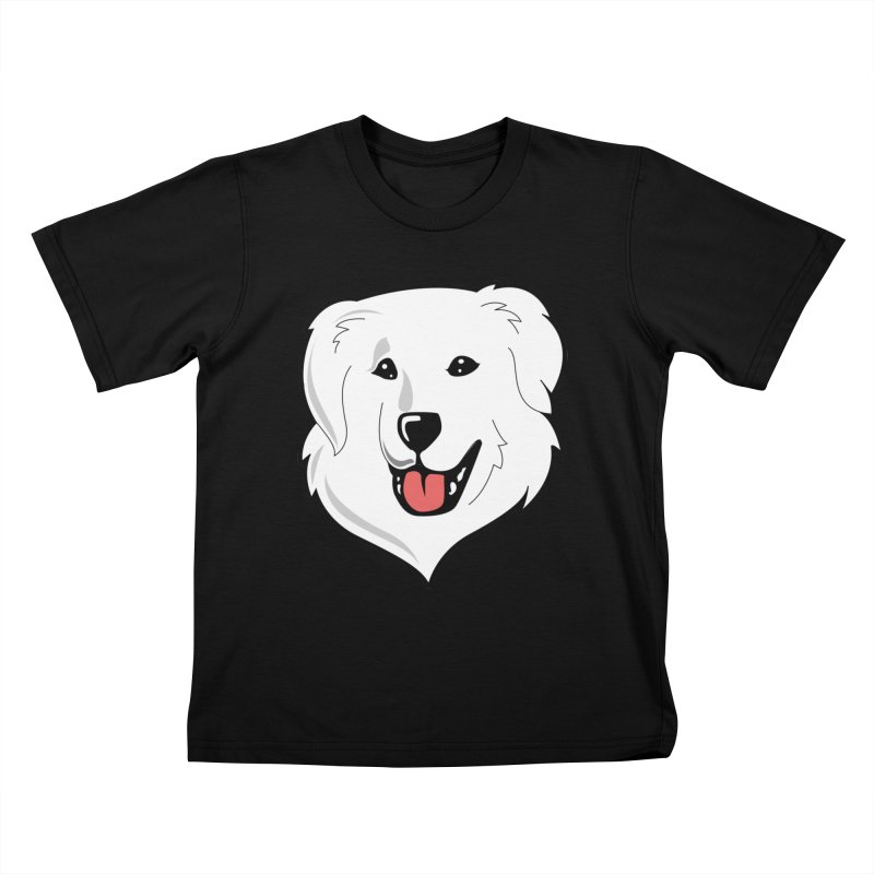 Happy Pyr on color backgrounds Kids T-Shirt by Carolina Great Pyrenees Rescue's Shop