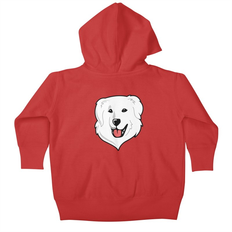 Happy Pyr on color backgrounds Kids Baby Zip-Up Hoody by Carolina Great Pyrenees Rescue's Shop