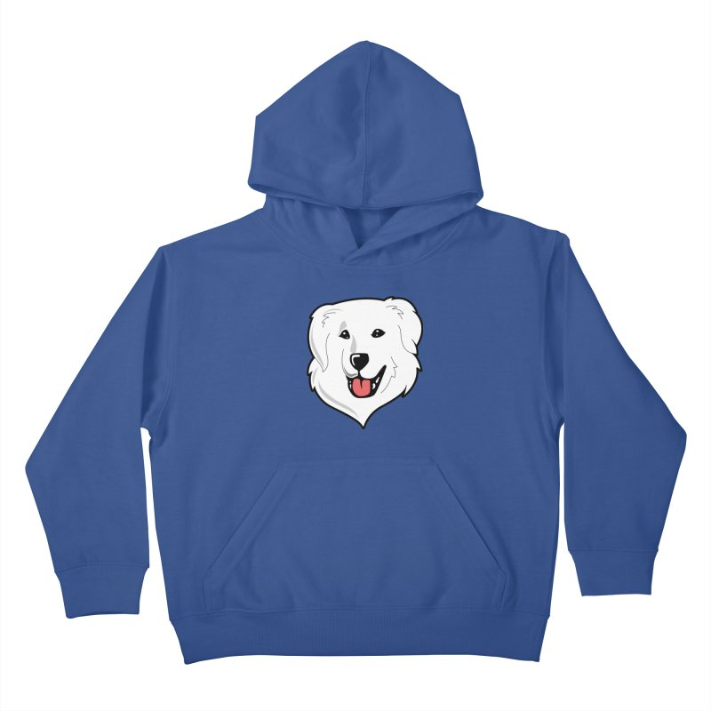 Happy Pyr on color backgrounds Kids Pullover Hoody by Carolina Great Pyrenees Rescue's Shop