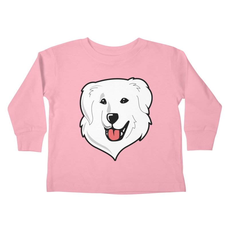 Happy Pyr on color backgrounds Kids Toddler Longsleeve T-Shirt by Carolina Great Pyrenees Rescue's Shop
