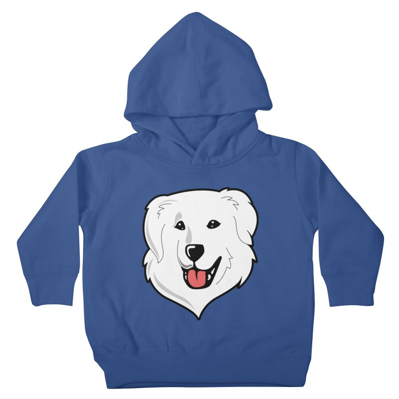 Happy Pyr on color backgrounds Kids Toddler Pullover Hoody by Carolina Great Pyrenees Rescue's Shop