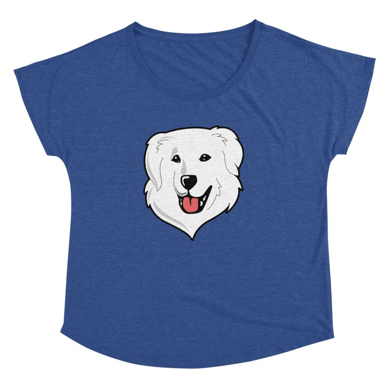 Happy Pyr on color backgrounds Women's Dolman by Carolina Great Pyrenees Rescue's Shop