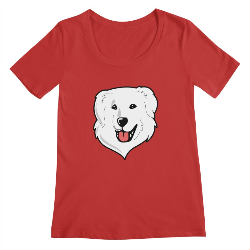 Happy Pyr on color backgrounds Women's Regular Scoop Neck by Carolina Great Pyrenees Rescue's Shop