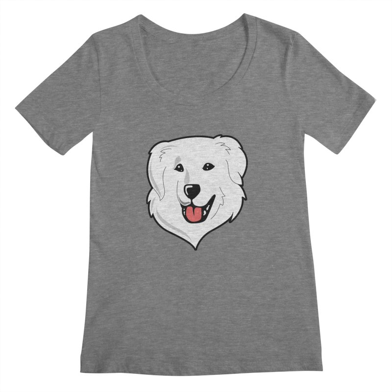 Happy Pyr on color backgrounds Women's Scoopneck by Carolina Great Pyrenees Rescue's Shop