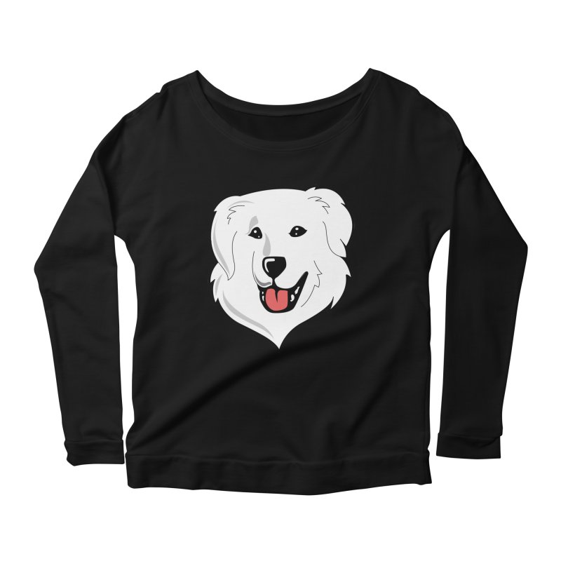 Happy Pyr on color backgrounds Women's Longsleeve Scoopneck  by Carolina Great Pyrenees Rescue's Shop