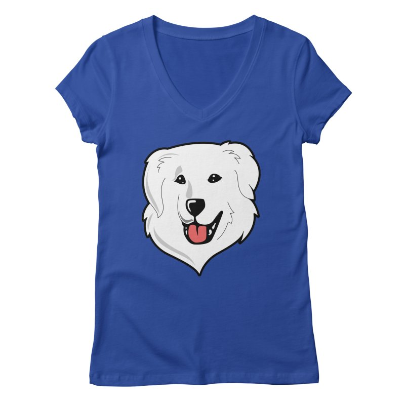 Happy Pyr on color backgrounds Women's V-Neck by Carolina Great Pyrenees Rescue's Shop