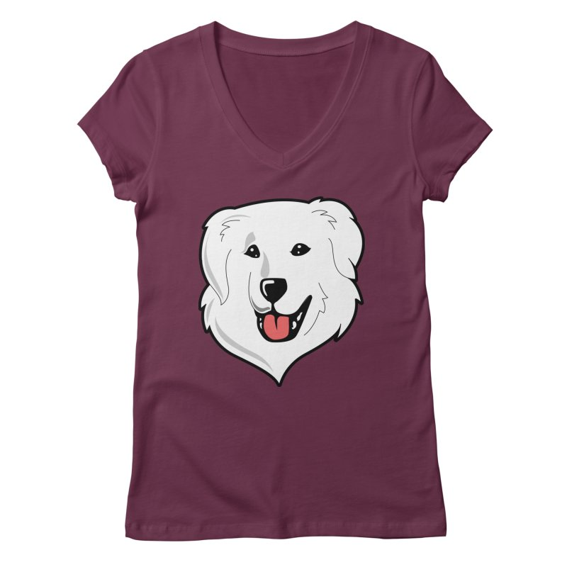 Happy Pyr on color backgrounds Women's Regular V-Neck by Carolina Great Pyrenees Rescue's Shop