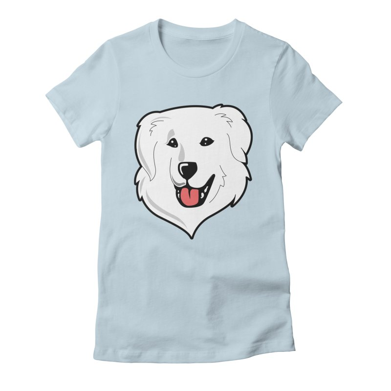 Happy Pyr on color backgrounds Women's Fitted T-Shirt by Carolina Great Pyrenees Rescue's Shop