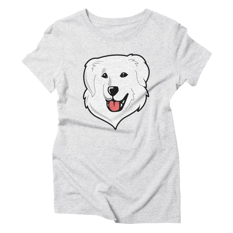 Happy Pyr on color backgrounds Women's Triblend T-Shirt by Carolina Great Pyrenees Rescue's Shop