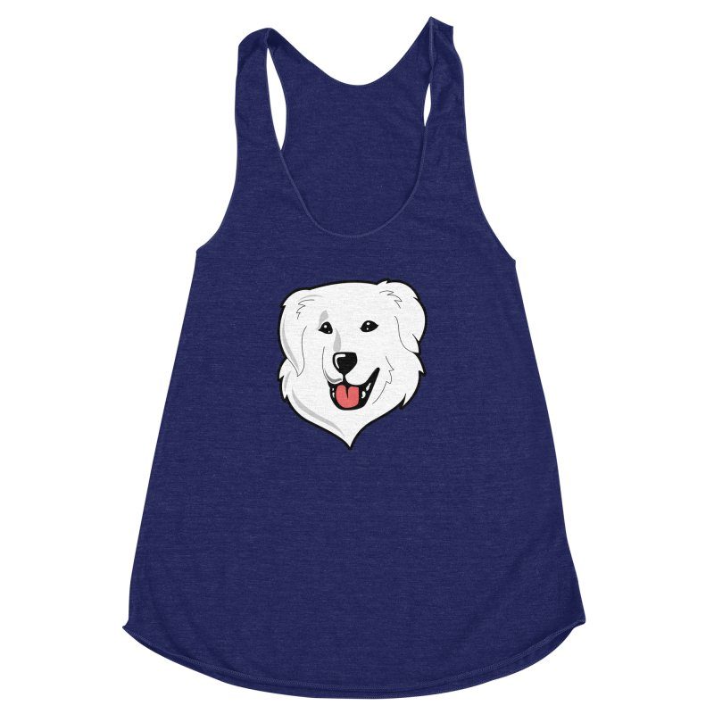 Happy Pyr on color backgrounds Women's Racerback Triblend Tank by Carolina Great Pyrenees Rescue's Shop