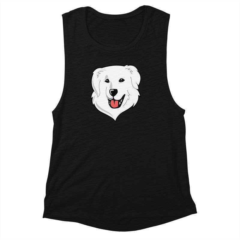Happy Pyr on color backgrounds Women's Muscle Tank by Carolina Great Pyrenees Rescue's Shop