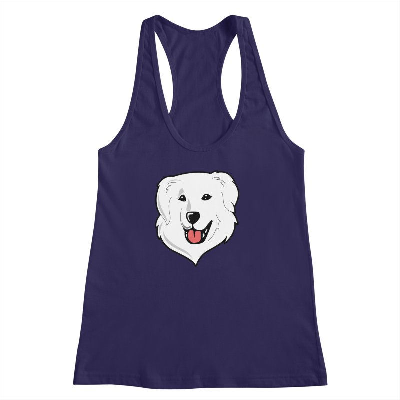 Happy Pyr on color backgrounds Women's Racerback Tank by Carolina Great Pyrenees Rescue's Shop