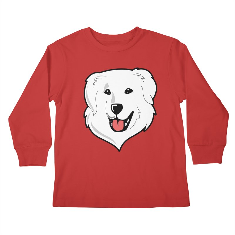 Happy Pyr on color backgrounds Kids Longsleeve T-Shirt by Carolina Great Pyrenees Rescue's Shop