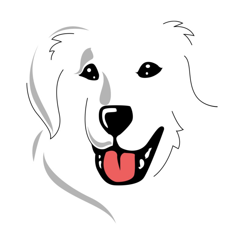 Borderless Happy Pyr on white  by Carolina Great Pyrenees Rescue's Shop