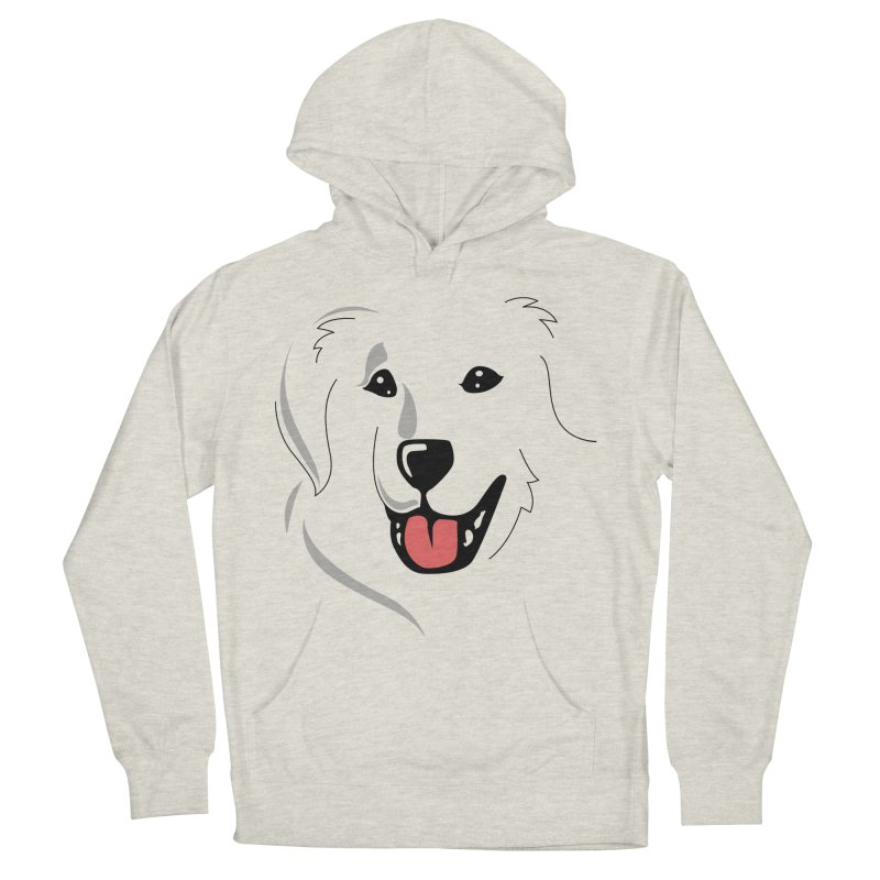 Borderless Happy Pyr on white  Women's French Terry Pullover Hoody by Carolina Great Pyrenees Rescue's Shop