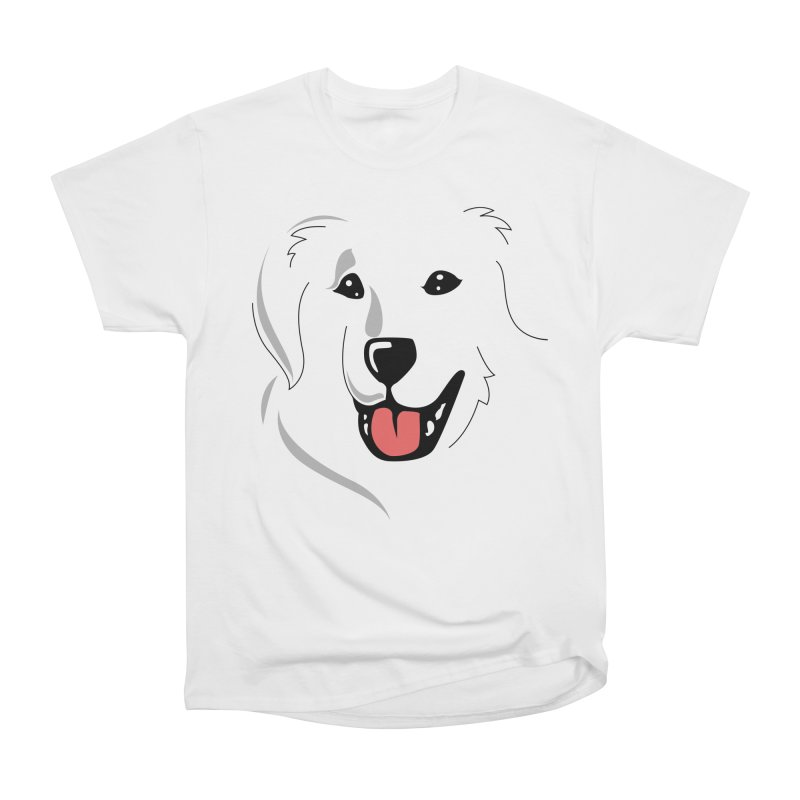 Borderless Happy Pyr on white  Women's Classic Unisex T-Shirt by Carolina Great Pyrenees Rescue's Shop