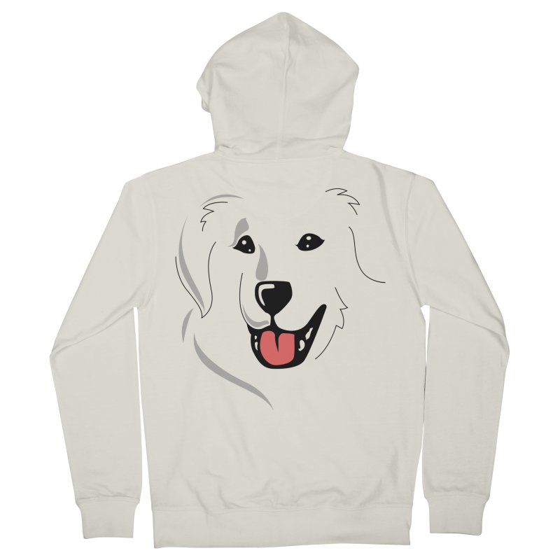 Borderless Happy Pyr on white  Men's French Terry Zip-Up Hoody by Carolina Great Pyrenees Rescue's Shop