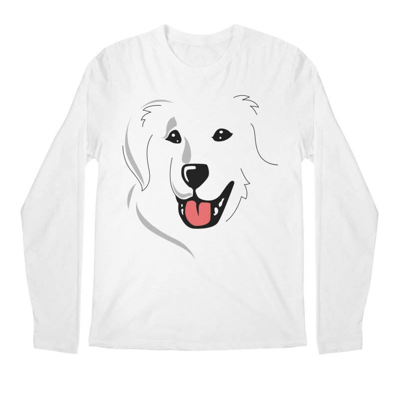 Borderless Happy Pyr on white  Men's Regular Longsleeve T-Shirt by Carolina Great Pyrenees Rescue's Shop