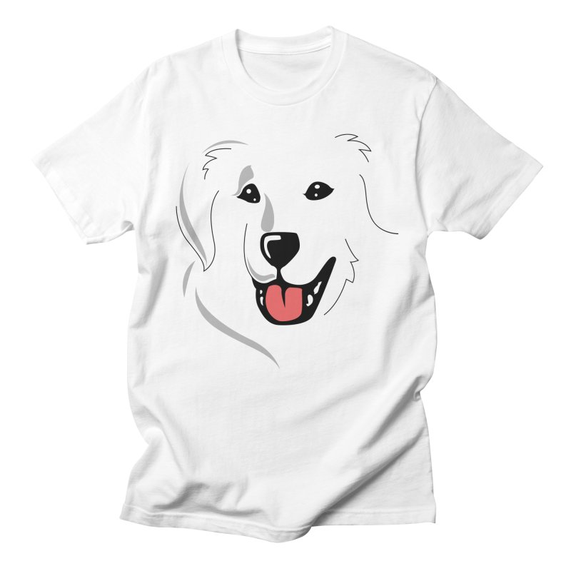 Borderless Happy Pyr on white  Men's T-Shirt by Carolina Great Pyrenees Rescue's Shop