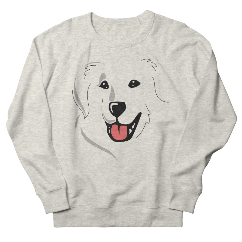 Borderless Happy Pyr on white  Men's French Terry Sweatshirt by Carolina Great Pyrenees Rescue's Shop
