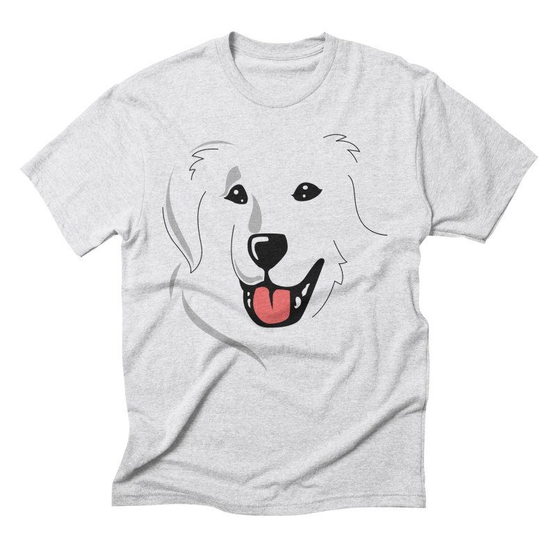 Borderless Happy Pyr on white  Men's Triblend T-Shirt by Carolina Great Pyrenees Rescue's Shop