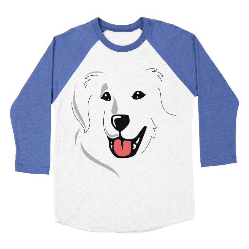 Borderless Happy Pyr on white  Men's Baseball Triblend T-Shirt by Carolina Great Pyrenees Rescue's Shop