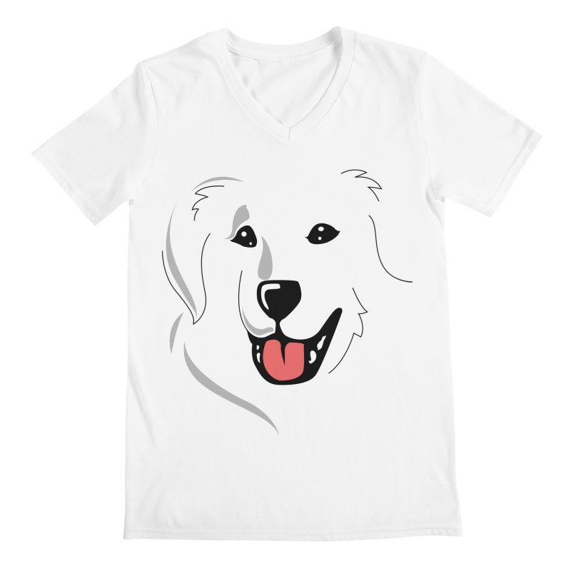 Borderless Happy Pyr on white  Men's V-Neck by Carolina Great Pyrenees Rescue's Shop