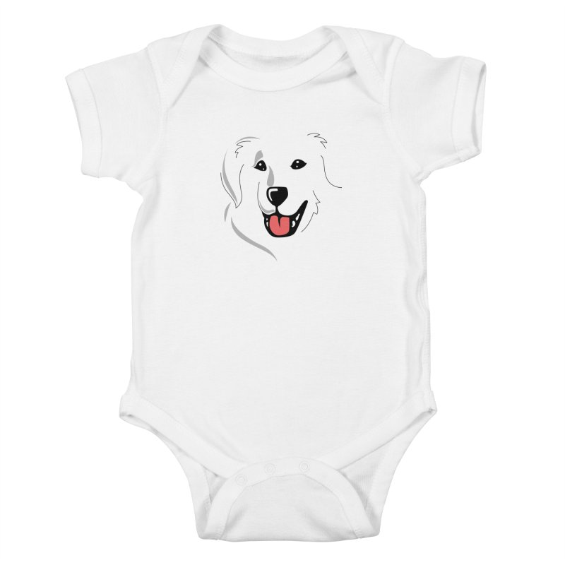 Borderless Happy Pyr on white  Kids Baby Bodysuit by Carolina Great Pyrenees Rescue's Shop