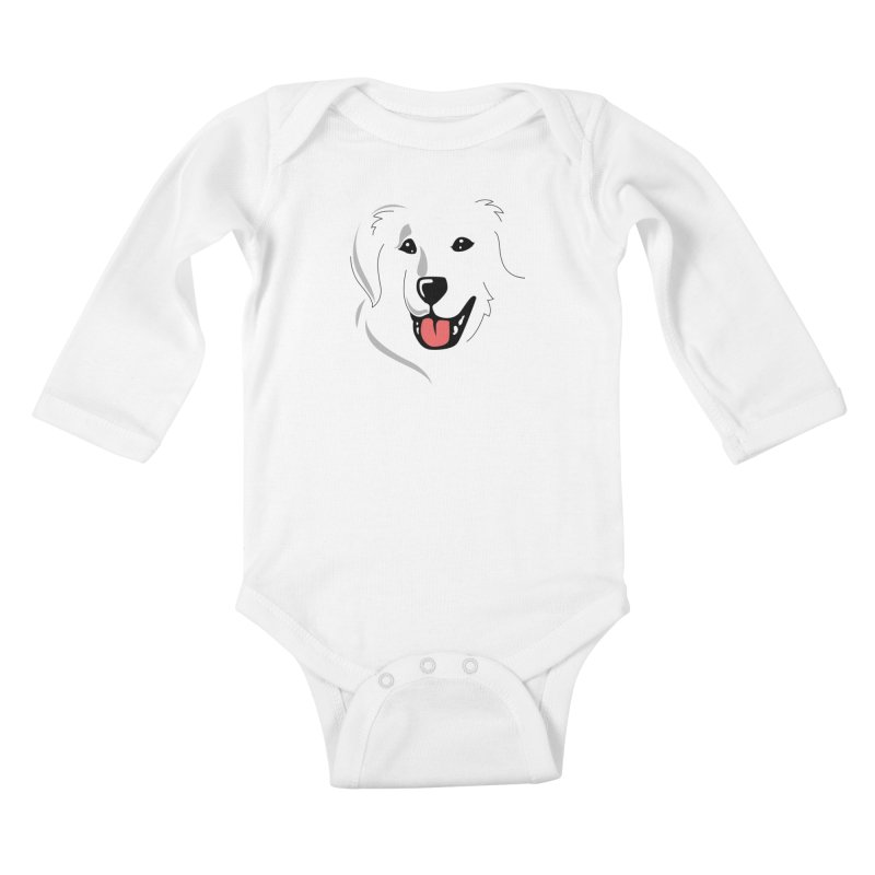 Borderless Happy Pyr on white  Kids Baby Longsleeve Bodysuit by Carolina Great Pyrenees Rescue's Shop