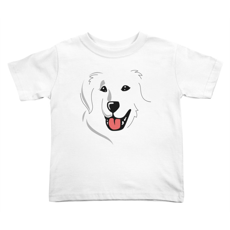 Borderless Happy Pyr on white  Kids Toddler T-Shirt by Carolina Great Pyrenees Rescue's Shop