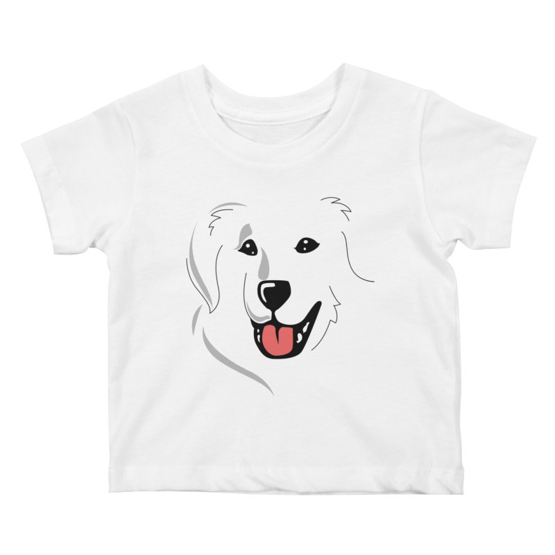 Borderless Happy Pyr on white  Kids Baby T-Shirt by Carolina Great Pyrenees Rescue's Shop