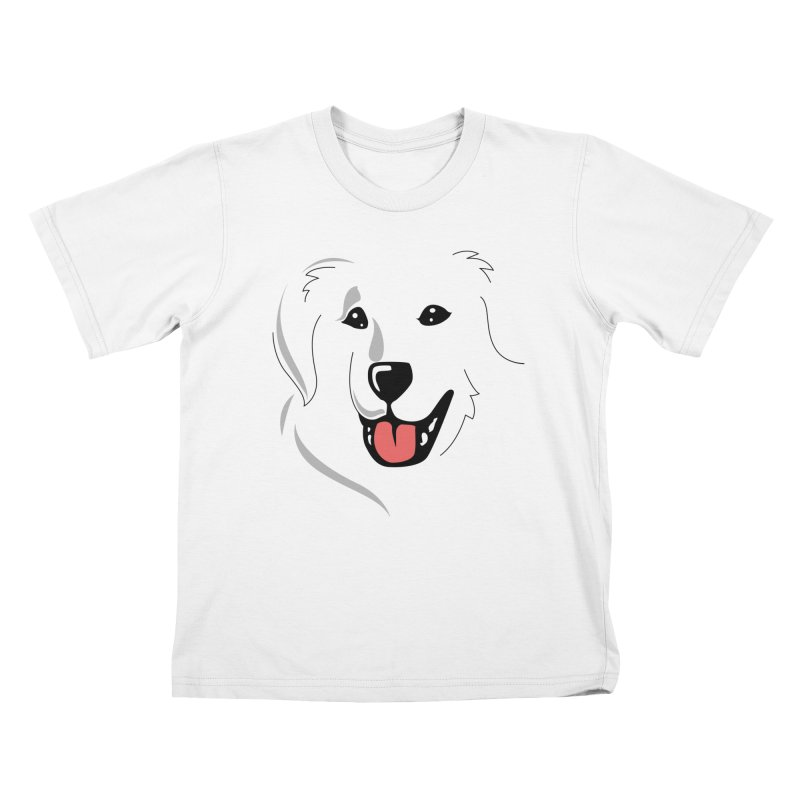 Borderless Happy Pyr on white  Kids T-Shirt by Carolina Great Pyrenees Rescue's Shop