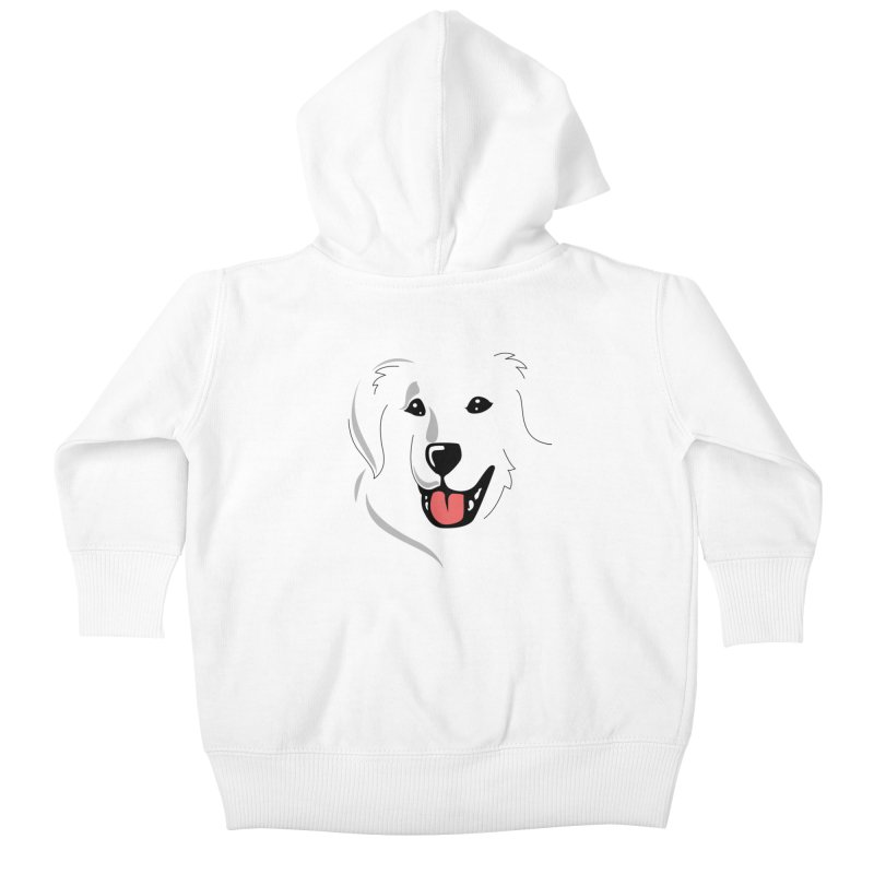 Borderless Happy Pyr on white  Kids Baby Zip-Up Hoody by Carolina Great Pyrenees Rescue's Shop