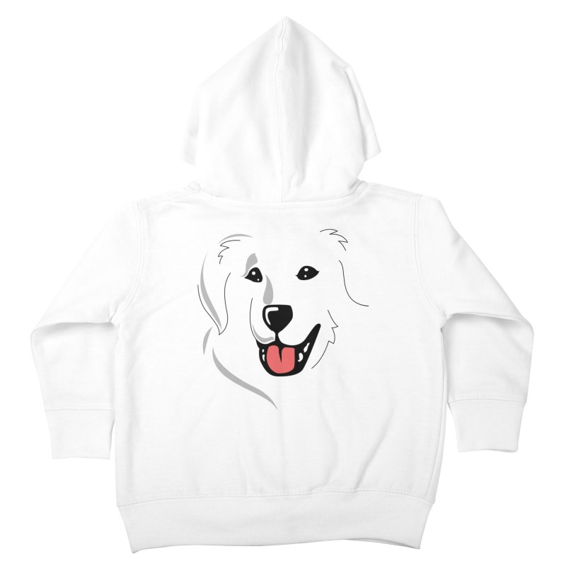 Borderless Happy Pyr on white  Kids Toddler Zip-Up Hoody by Carolina Great Pyrenees Rescue's Shop