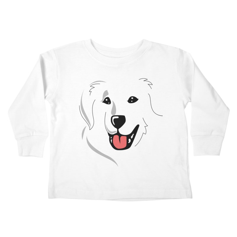Borderless Happy Pyr on white  Kids Toddler Longsleeve T-Shirt by Carolina Great Pyrenees Rescue's Shop