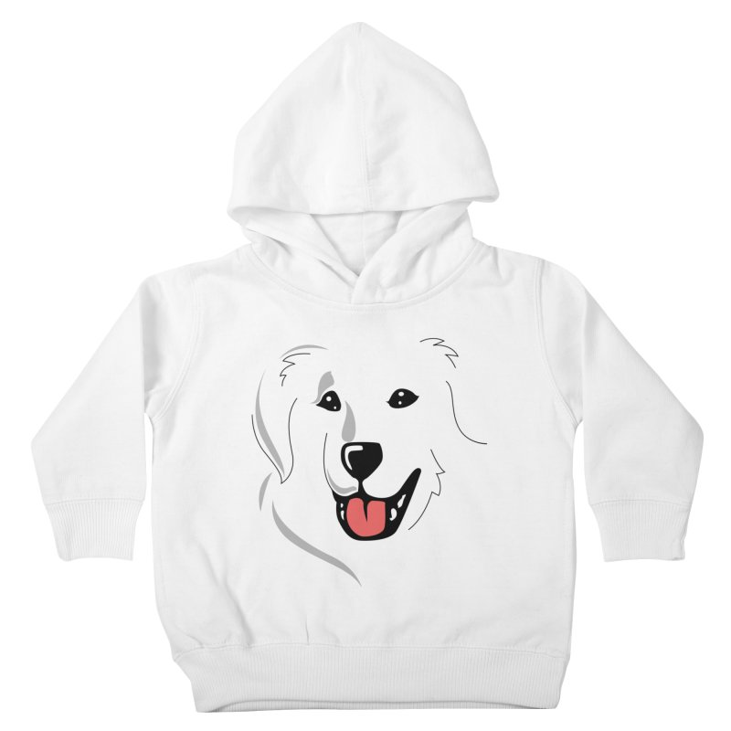 Borderless Happy Pyr on white  Kids Toddler Pullover Hoody by Carolina Great Pyrenees Rescue's Shop