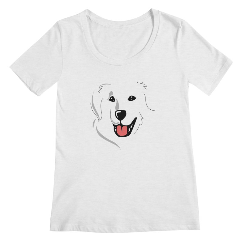 Borderless Happy Pyr on white  Women's Scoopneck by Carolina Great Pyrenees Rescue's Shop