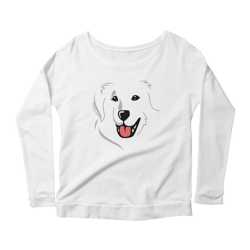 Borderless Happy Pyr on white  Women's Longsleeve Scoopneck  by Carolina Great Pyrenees Rescue's Shop