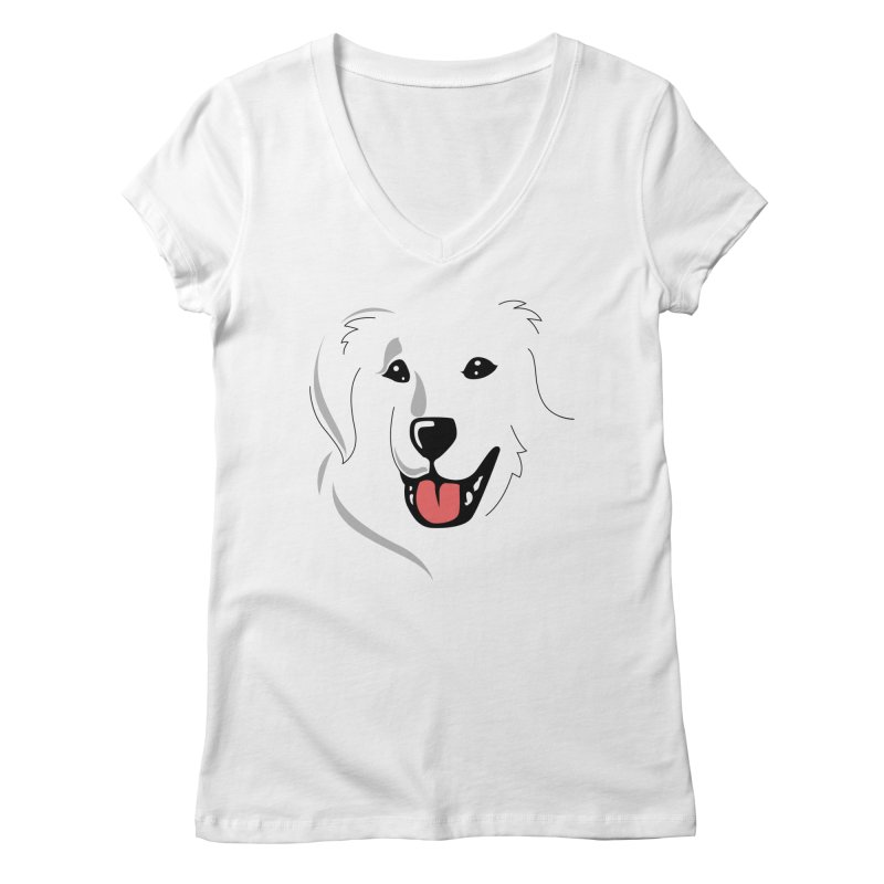 Borderless Happy Pyr on white  Women's Regular V-Neck by Carolina Great Pyrenees Rescue's Shop