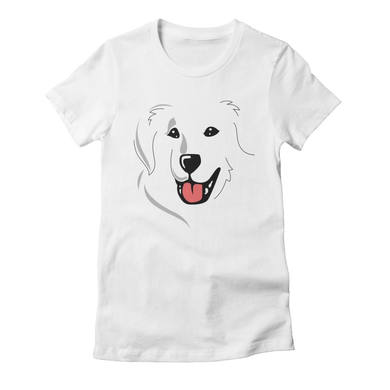 Borderless Happy Pyr on white  Women's Fitted T-Shirt by Carolina Great Pyrenees Rescue's Shop