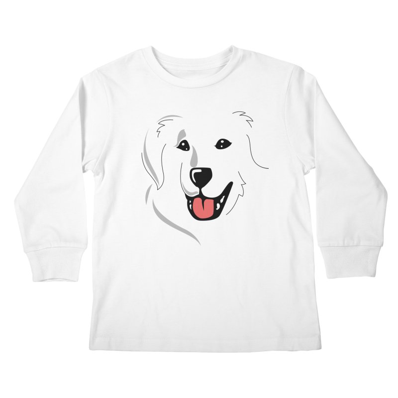 Borderless Happy Pyr on white  Kids Longsleeve T-Shirt by Carolina Great Pyrenees Rescue's Shop