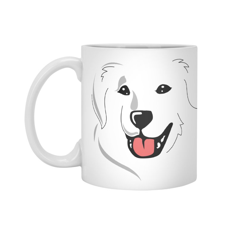 Borderless Happy Pyr on white  Accessories Mug by Carolina Great Pyrenees Rescue's Shop