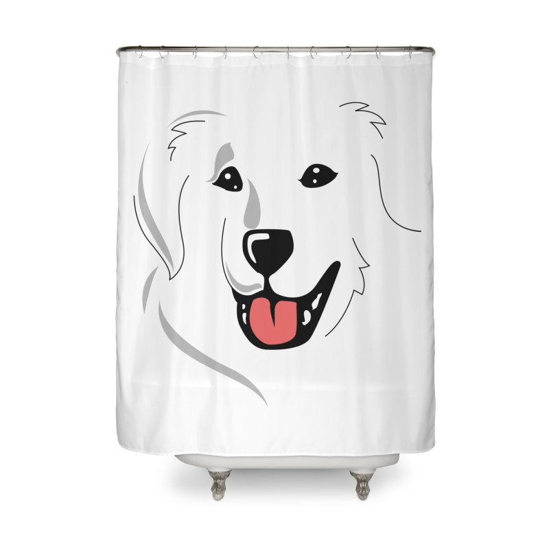 Borderless Happy Pyr on white  Home Shower Curtain by Carolina Great Pyrenees Rescue's Shop