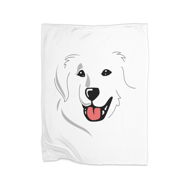 Borderless Happy Pyr on white  Home Blanket by Carolina Great Pyrenees Rescue's Shop