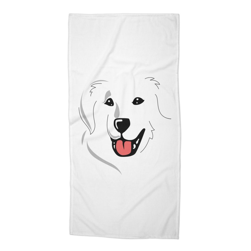 Borderless Happy Pyr on white  Accessories Beach Towel by Carolina Great Pyrenees Rescue's Shop