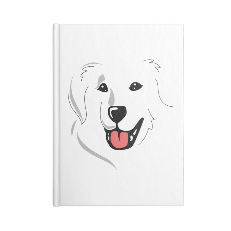 Borderless Happy Pyr on white  Accessories Notebook by Carolina Great Pyrenees Rescue's Shop