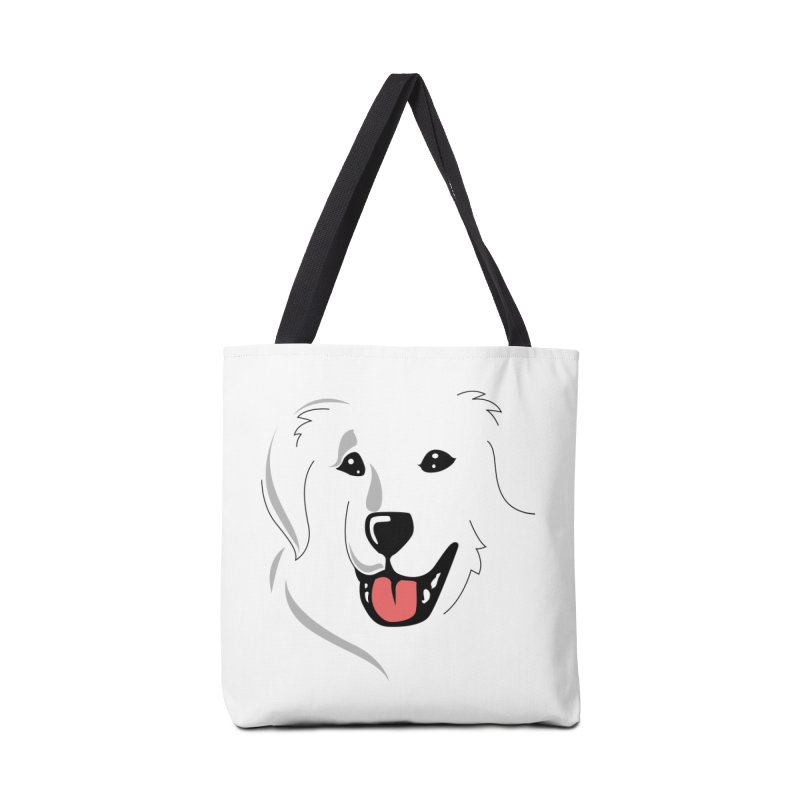 Borderless Happy Pyr on white  Accessories Bag by Carolina Great Pyrenees Rescue's Shop